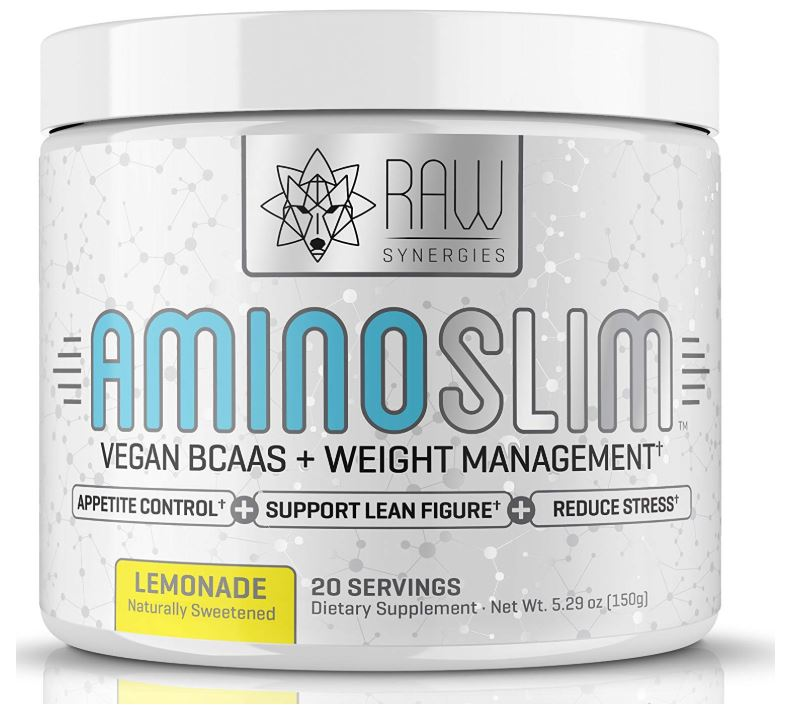 this is an image of RAW Synergies bcaa supplement called amino slim for weight management