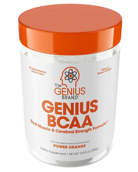 this image represents The Genius Brand's Genius BCAA for muscle and Cerebral Strength