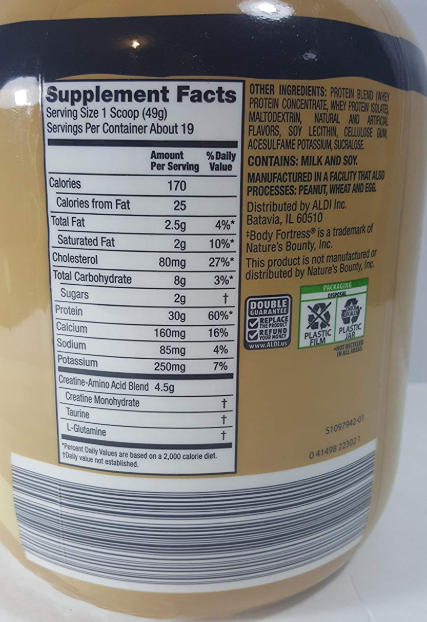 this image shows elevation protein powder nutritional values