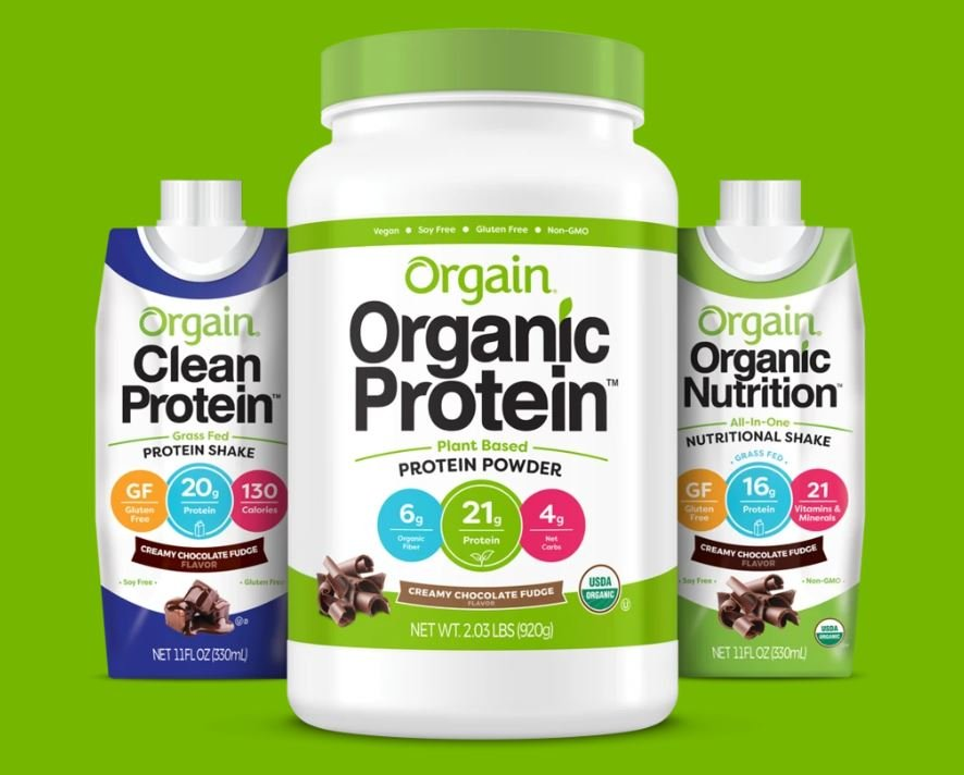 this is a picture of the brand Orgain and their protein powders