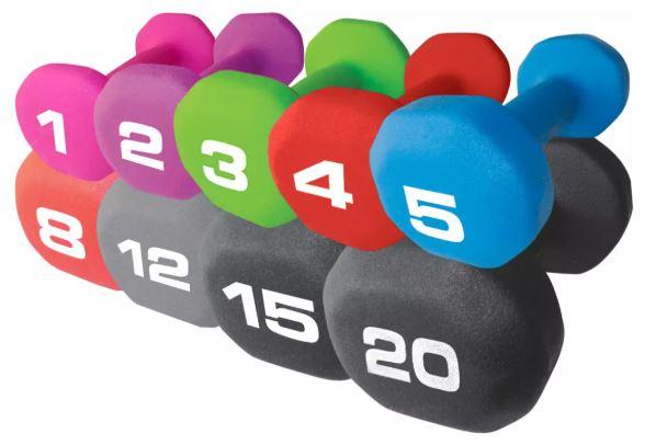 an image of the fitness gear neoprene dumbbell set