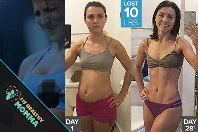 an image of a before and after from a beachbody liift 4 customer review