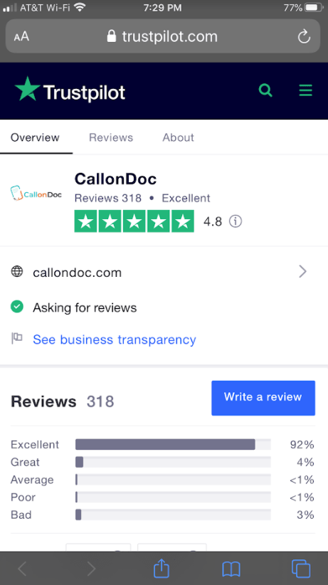 a picture of callondoc average customer rating on trustpilot