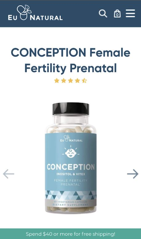 image of eu natural website where you can purchase conception
