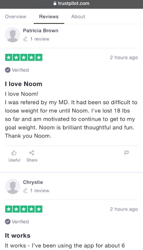 an image of a customer that loves noom diet plan