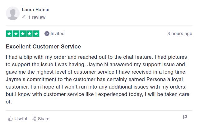 positive review on persona nutrition's customer service