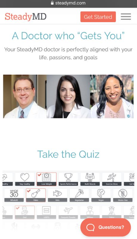 steadymd's picture of doctors on their mobile website