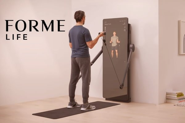 Forme Life set up in a man's home and using digital weight system