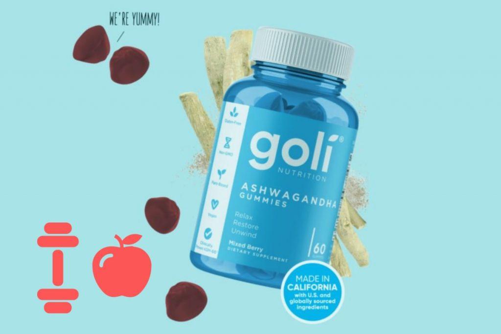 goli ashwagandha gummies bottle to relax, restore and unwind