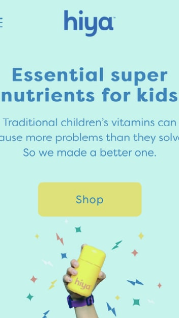 Home page for hiya health vitamins for kids
