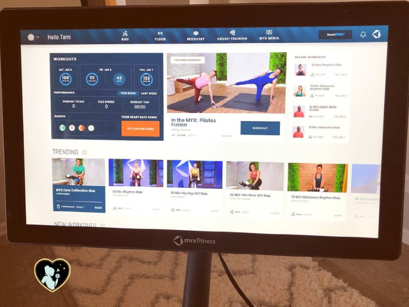 MYXfitness app and interface from the bike's HD screen