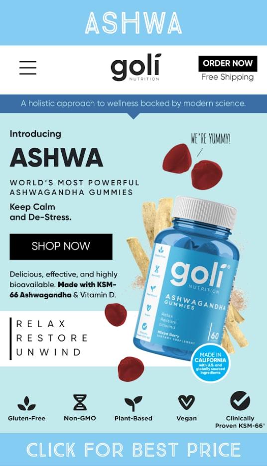 goli nutrition ashwa gummies product bottle