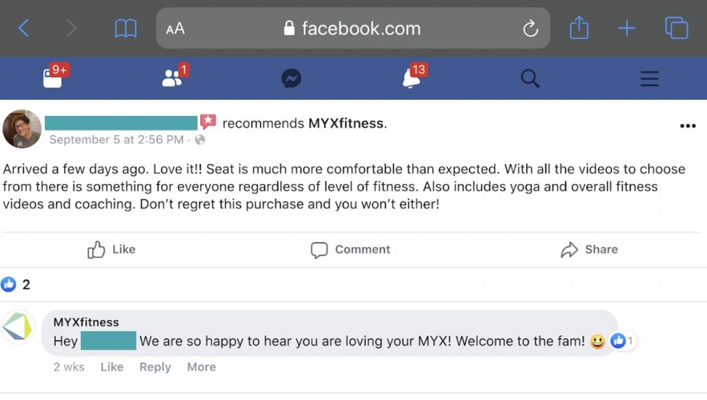 myxfitness bike facebook review and response