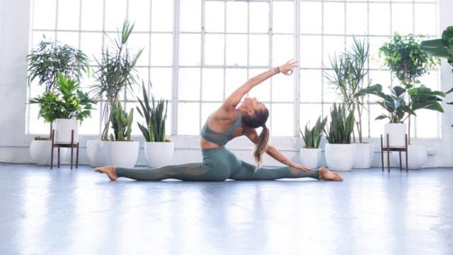 practicing yoga split