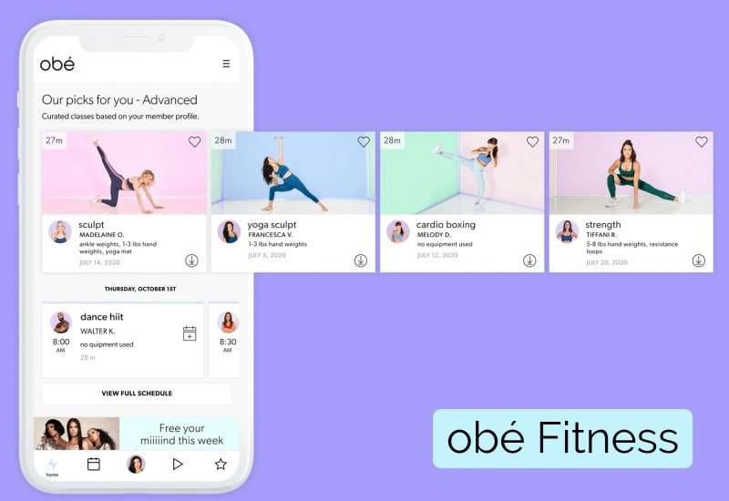 browse fitness categories and classes