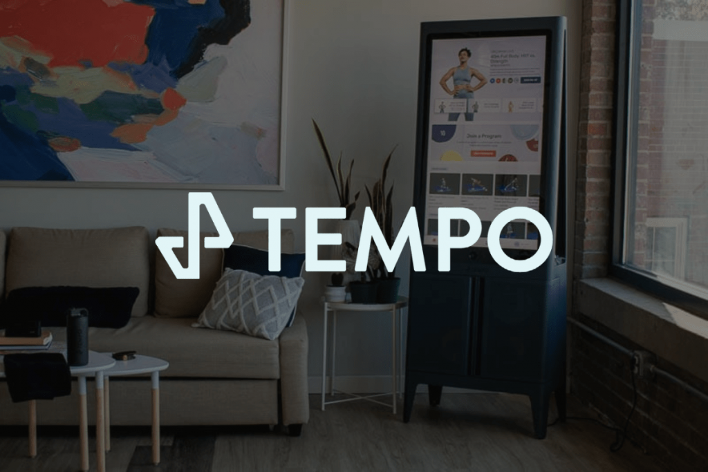 tempo's logo and home gym at apartment