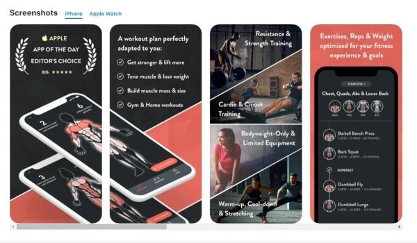 screenshots of fitbod app