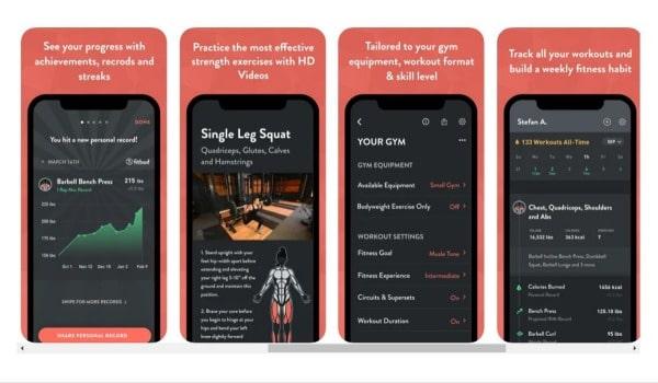 screenshots of fitbod app 2