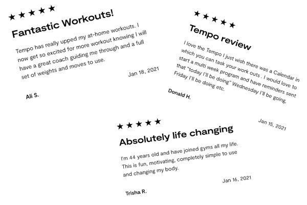 Customers reviewing the Tempo Fit Smart Gym