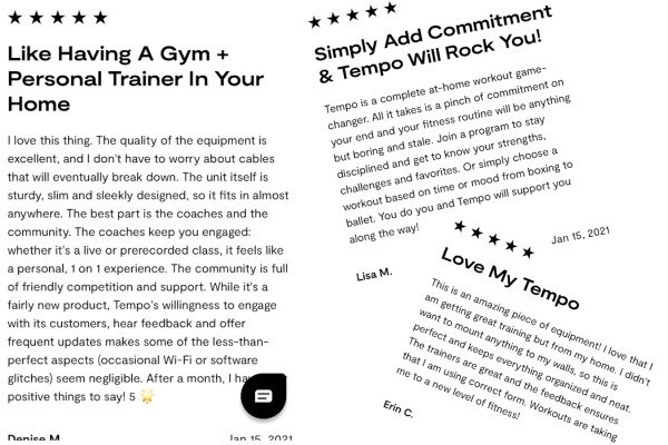 positive testimonials from Tempo's review page.