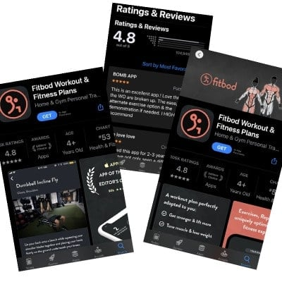 fitbod weightlifting app screenshots