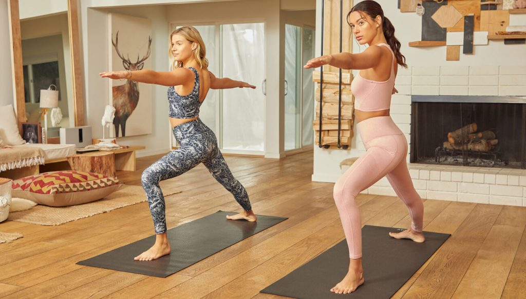 working out barre class at home with activewear