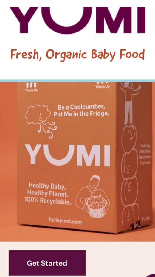 YUMI's logo and baby food box