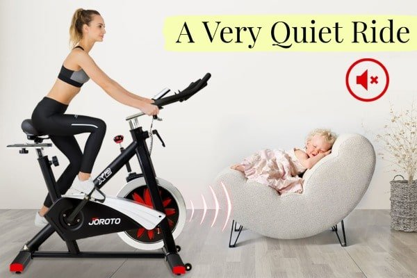 riding Joroto bike while baby sleeps