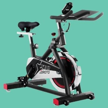 Joroto Bike with fit healthy momma green color background