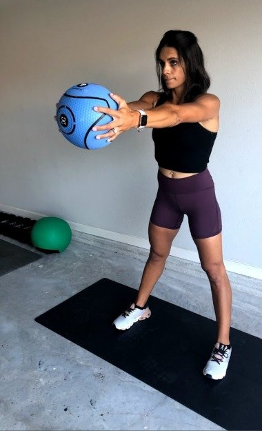 arm swings with med ball 2