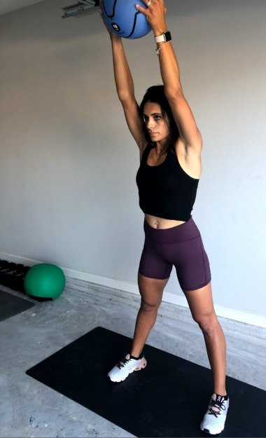 arm swings with med ball 3