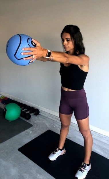 shoulder raises with med ball 2