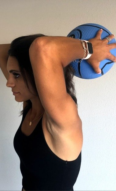 triceps extension with medicine ball 1