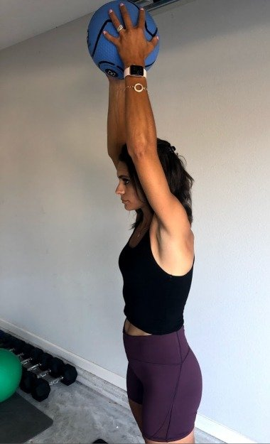 triceps extension with medicine ball 2