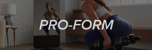 logo of proform vue and overview of workouts