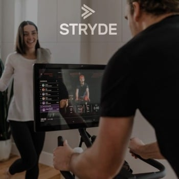 riding Stryde spin bike using Peloton's app