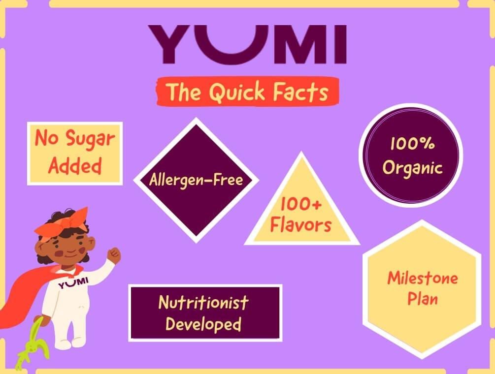 YUMI baby food quick facts infographic