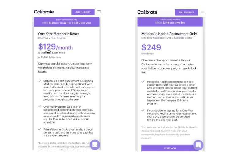 pricing for calibrate