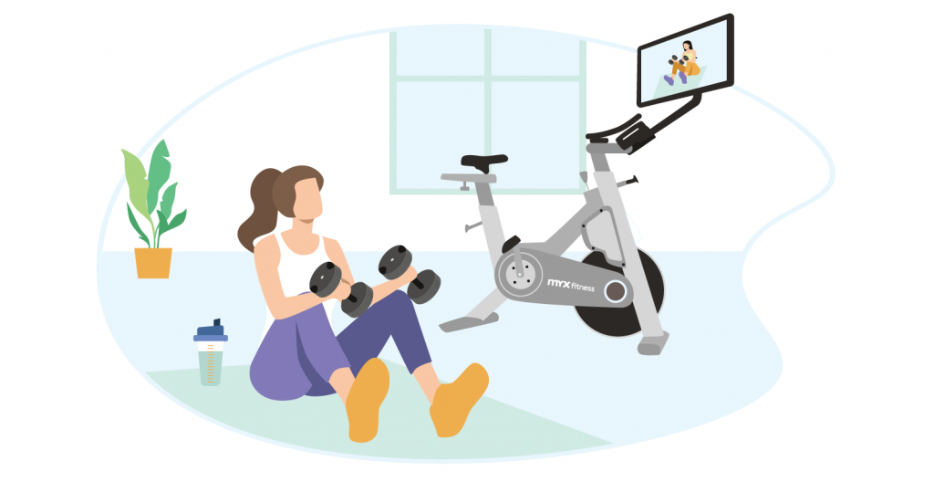 fit healthy momma working out with myx fitness bike