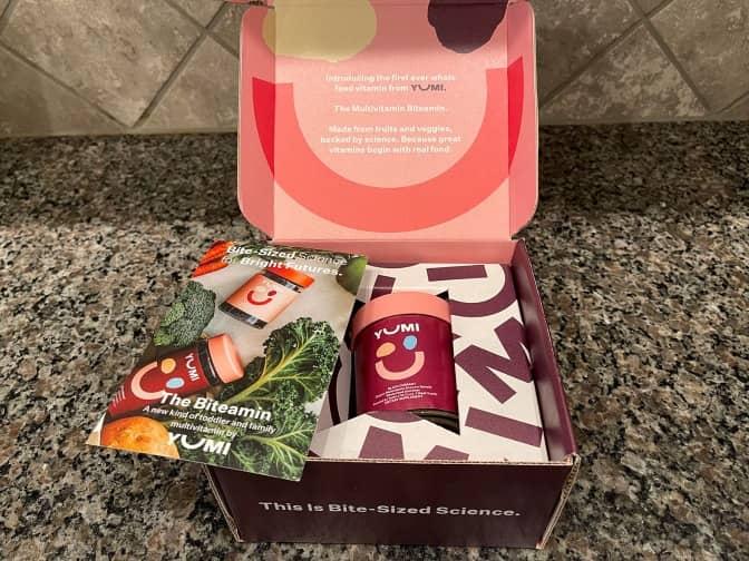opened box of YUMI's biteamins