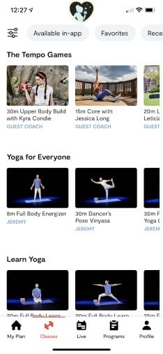 screen shot of tempo workout classes in app
