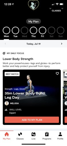 personalized workout plan in tempo app