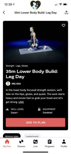lower body workout in tempo's app