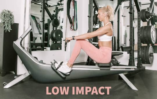 beginner does low impact workout on hydrow rower