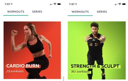 cardio burn workouts in the p volve app