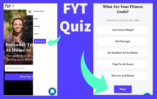 fyt mobile website and quiz