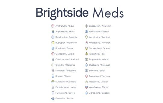 list of medications that Brightside offers
