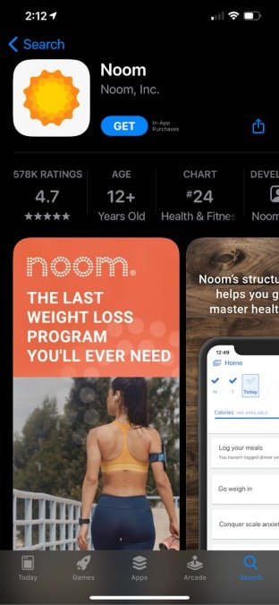 noom app showing 4.7 stars out of 5 stars