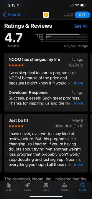 noom app showing 5-star user reviews