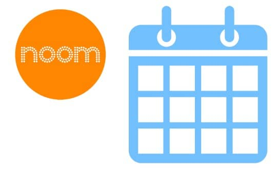 noom logo and weight loss results calendar
